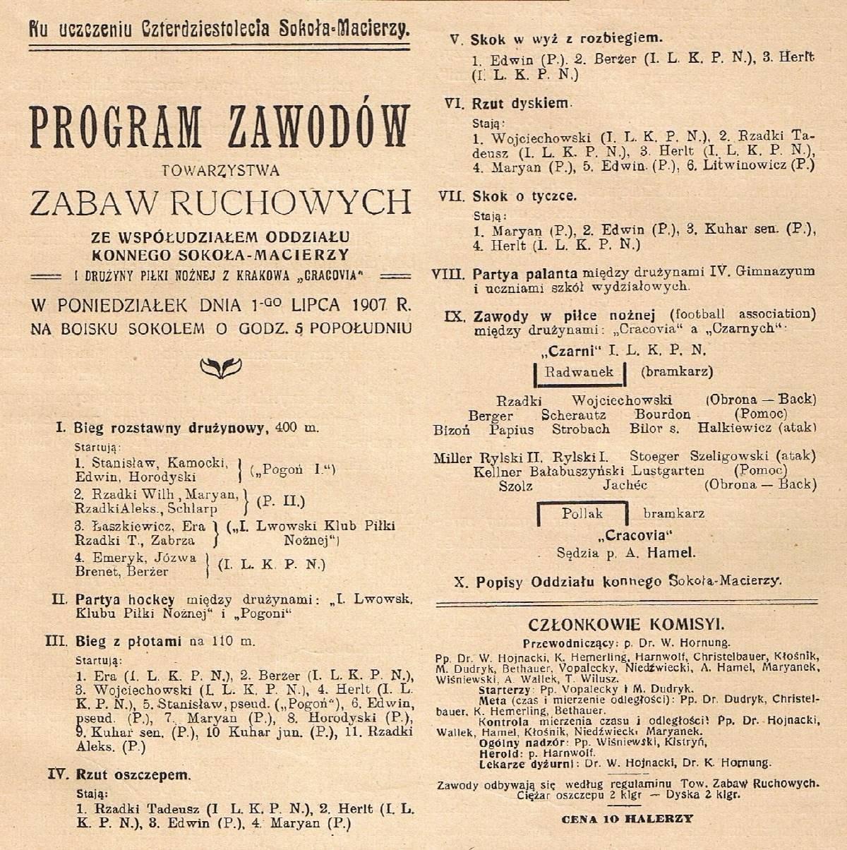 Program zawodów sportowych, wktórychjednym zgłównych punktów był mecz piłkarski. Takie rozpisanie pozycji zawodników było wtedy nowością; źródło: wikipasy.pl